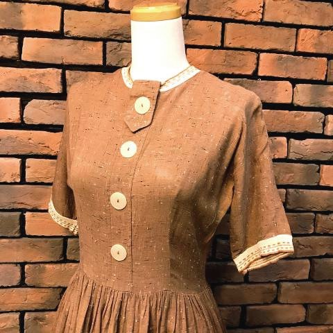 Brown Flecked Rayon Dress