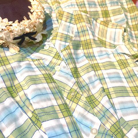 <img class='new_mark_img1' src='//img.shop-pro.jp/img/new/icons13.gif' style='border:none;display:inline;margin:0px;padding:0px;width:auto;' />Green Plaid Cotton Day Dress