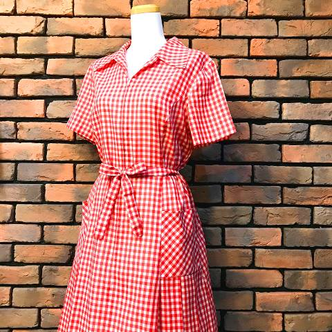 "<img class='new_mark_img1' src='//img.shop-pro.jp/img/new/icons13.gif' style='border:none;display:inline;margin:0px;padding:0px;width:auto;' />""Shaker Square"" Gingham Cotton Dress w/Belt"