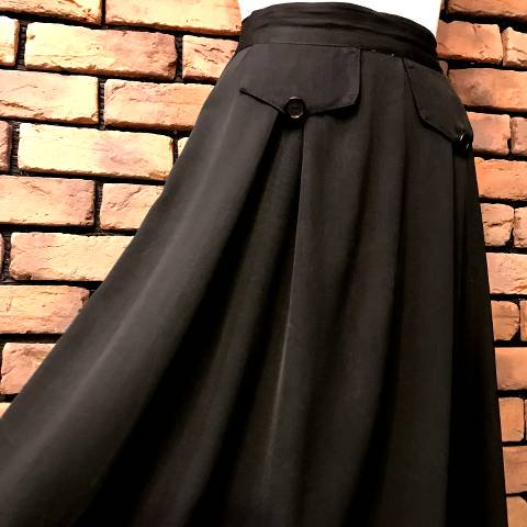 Black Rayon Flap Skirt