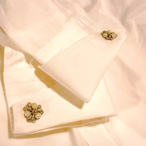 Pearl and Rhinestones Cuff Links