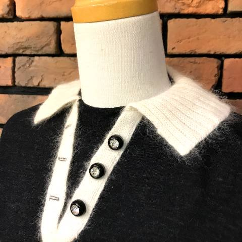 Mohair Collar, Charcoal Gray Knit Top