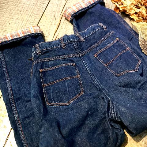 50's Plaid Flannel Lined Denim Ranch Pants