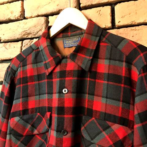 """<img class='new_mark_img1' src='https://img.shop-pro.jp/img/new/icons13.gif' style='border:none;display:inline;margin:0px;padding:0px;width:auto;' />60's """"PENDLETON"""" Red Plaid Wool Shirt"""