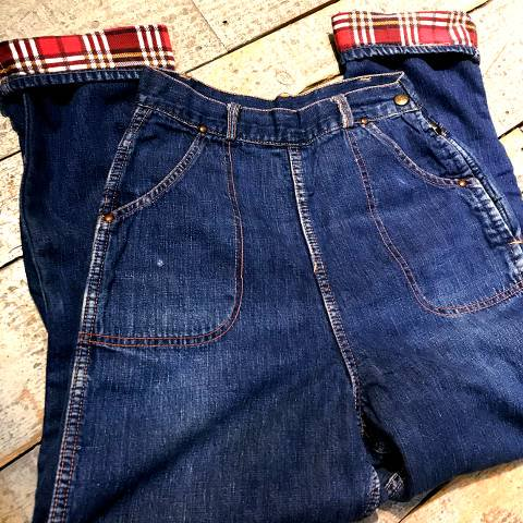 <img class='new_mark_img1' src='https://img.shop-pro.jp/img/new/icons13.gif' style='border:none;display:inline;margin:0px;padding:0px;width:auto;' />Plaid Flannel Lined Denim Ranch Pants