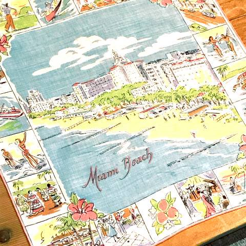 """Miami Beach"" Souvenir Hankie"