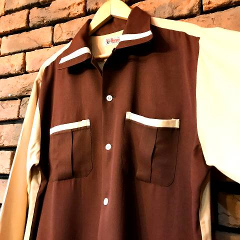 """<img class='new_mark_img1' src='https://img.shop-pro.jp/img/new/icons13.gif' style='border:none;display:inline;margin:0px;padding:0px;width:auto;' />""""Bud Berma"""" Brown & Beige 2tone Shirt"""