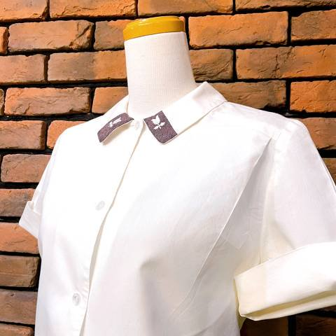 Embroidery Collar White Blouse