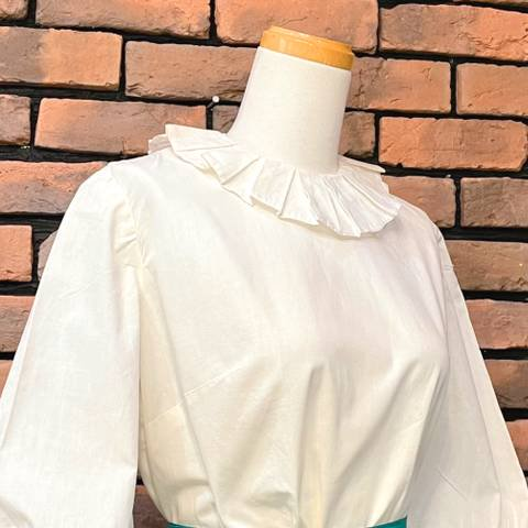 <img class='new_mark_img1' src='https://img.shop-pro.jp/img/new/icons13.gif' style='border:none;display:inline;margin:0px;padding:0px;width:auto;' />Clown Collar White Blouse