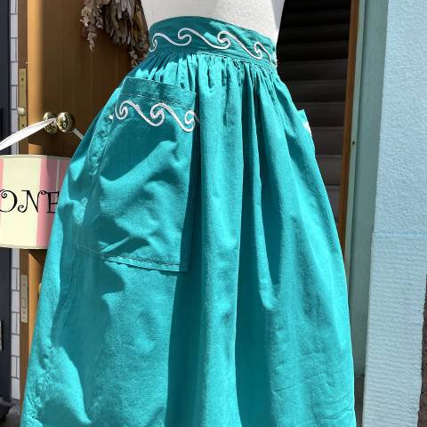 Green Gathered Cotton Skirt with Big Pockets