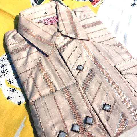 """<img class='new_mark_img1' src='https://img.shop-pro.jp/img/new/icons13.gif' style='border:none;display:inline;margin:0px;padding:0px;width:auto;' />""""H BAR C"""" Western Shirt, Beige Stripe Cotton"""