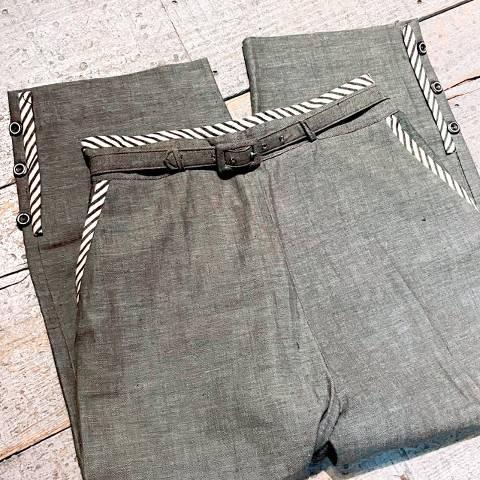 Black Chambray with Stripe Capri Pants