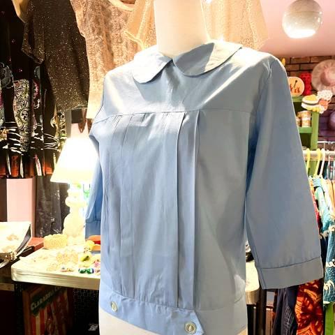 Sax Blue Back Button Blouse