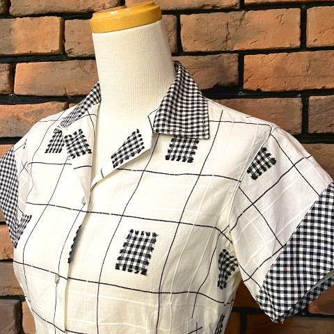 """<img class='new_mark_img1' src='https://img.shop-pro.jp/img/new/icons13.gif' style='border:none;display:inline;margin:0px;padding:0px;width:auto;' />""""Miller"""" White Plaid Western Shirt"""