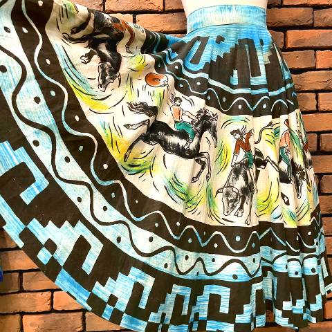 Western Cowboy, Rodeo Hand Painted Skirt