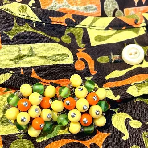 Yellow,Orange,Green,Beaded Earrings