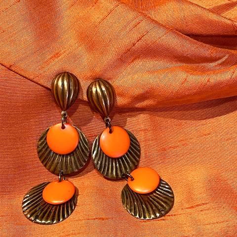 Copper x Orange Dangle Earrings