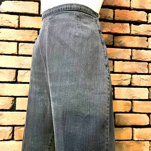 Black Denim Side Zipper Short Pants