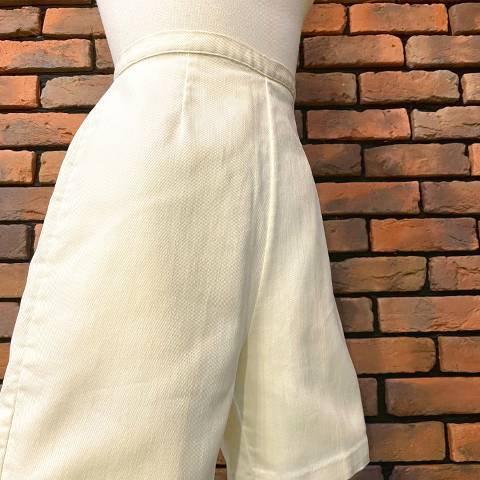 White Denim Side Zipper Short Pants