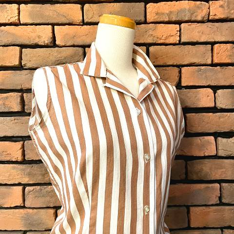 <img class='new_mark_img1' src='https://img.shop-pro.jp/img/new/icons13.gif' style='border:none;display:inline;margin:0px;padding:0px;width:auto;' />Brown & White Striped Sleeveless Shirt