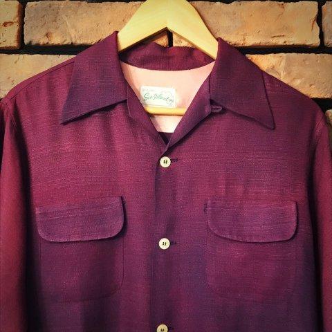 "<img class='new_mark_img1' src='https://img.shop-pro.jp/img/new/icons13.gif' style='border:none;display:inline;margin:0px;padding:0px;width:auto;' />""Sea Island"" Purple Rayon Shirt"