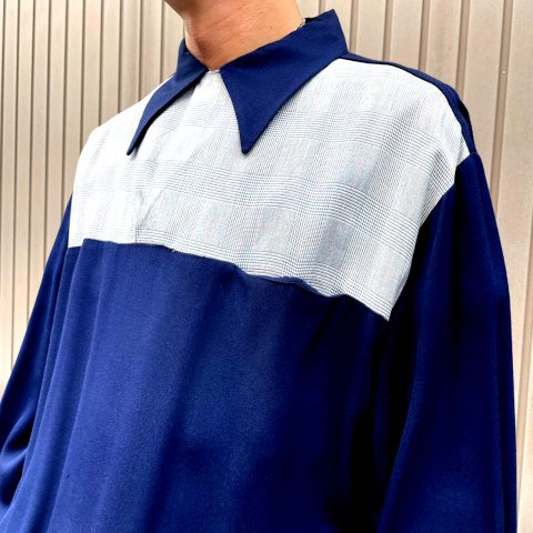 """<img class='new_mark_img1' src='https://img.shop-pro.jp/img/new/icons13.gif' style='border:none;display:inline;margin:0px;padding:0px;width:auto;' />""""McGREGOR"""" Navy Rayon Gaucho Waistband Shirt"""
