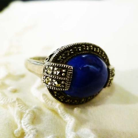Lapis-lazuli x Marcasite Ring