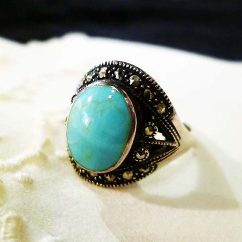 Turquoise x Marcasite Ring