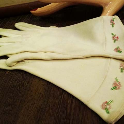 White Beaded Gloves