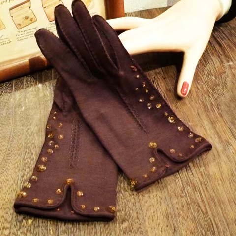 Brown Beaded Gloves