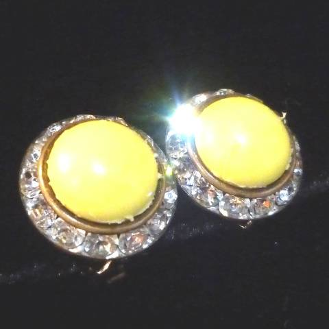 Yellow x Rhinestone Earrings