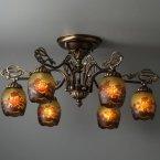 ガレ ランプ コレクション 直付6灯シャンデリア レッドローズ