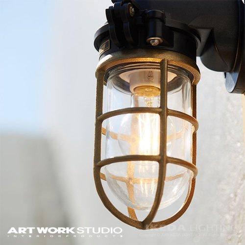 ネイビーベース フラットトップウォールランプ (コードなし / 屋内・屋外兼用)防雨モデル| アートワークスタジオ  -- 入荷待ち ご予約受付中!--
