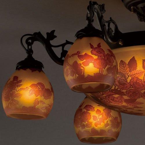 ガレコレクション 6+4灯シーリングシャンデリア 薔薇