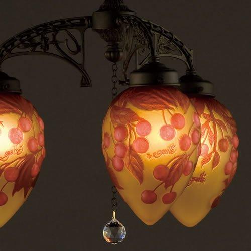 ガレコレクション 3灯シャンデリア レッドチェリー