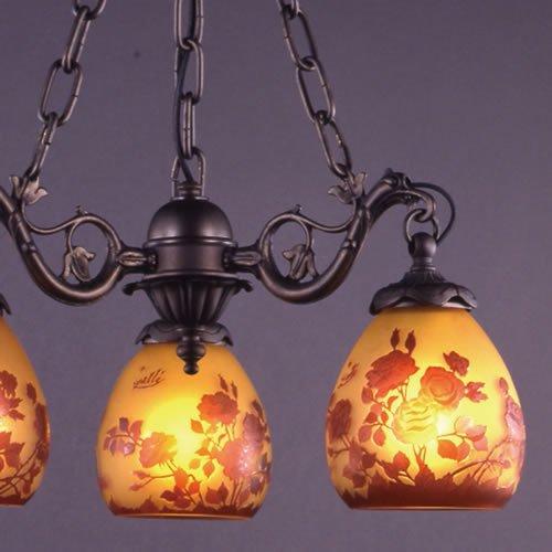 ガレコレクション 3灯シャンデリア 薔薇