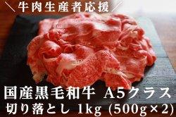牛肉生産者応援 国産黒毛和牛 A5クラス 切り落とし 1kg
