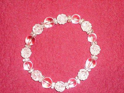 本水晶&蓮の花型本水晶、魂の浄化ブレスレット