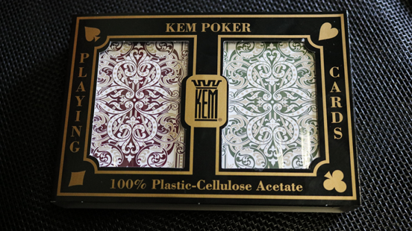 KEM Bridge Plastic Playing Cards Jacquard (Purple and Green 2 Deck Set Jumbo Index) - Trick