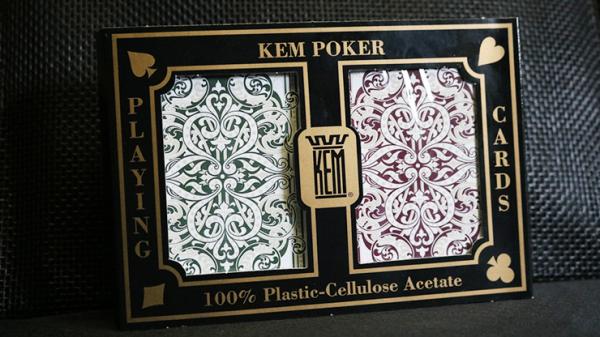 KEM Poker Plastic Playing Cards Jacquard (Purple and Green 2 Deck Set Standard Index) - Trick