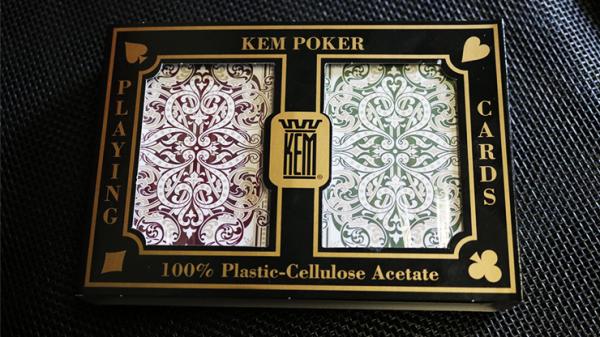 KEM Poker Plastic Playing Cards Jacquard (Purple and Green  2 deck set Jumbo Index) - Trick