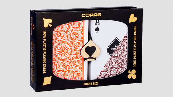 <img class='new_mark_img1' src='https://img.shop-pro.jp/img/new/icons6.gif' style='border:none;display:inline;margin:0px;padding:0px;width:auto;' />Copag 1546 Plastic Playing Cards Poker Size Regular Index Orange/Brown Double-Deck Set