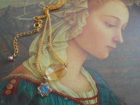 Spring Blessing シトリンと聖母マリアの星のチャームネックレス