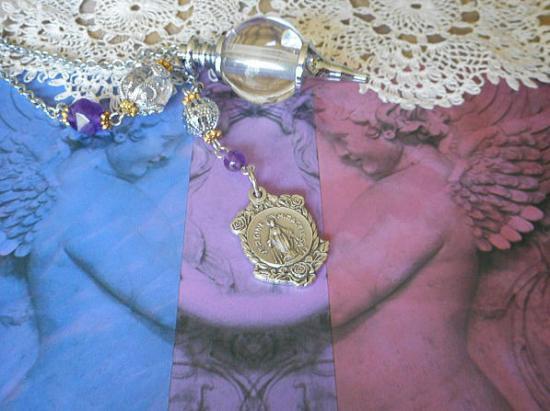 Everlasting Rose  薔薇の不思議のメダイのヒマラヤクリスタル 3Wayペンデュラム(ブレスレット)