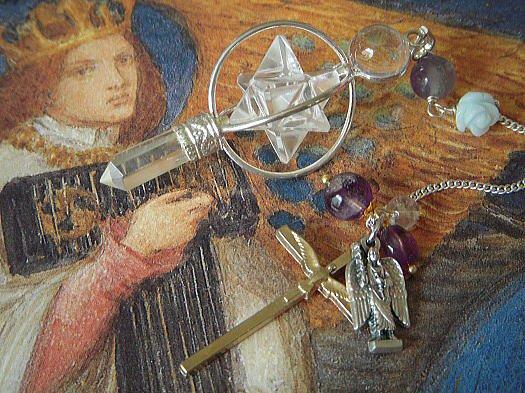 青い薔薇と大天使ミカエルのヒマラヤ水晶のペンデュラム (マルカバスター ヒマラヤクリスタル)