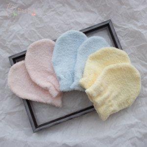【メール便OK(02)】ひっかき傷防止に 柔らか両面パイルのミトン 1双 ピンク/ブルー/クリーム 綿100% 日本製