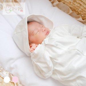 【メール便OK(07)】PUPO 丸襟付き2wayドレス 長袖 透かしツリー柄 パターンメッシュ 綿100% ホワイト 50-60cm 新生児 日本製
