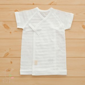 [PUPO][選べる肌着][短肌着][シャドーボーダー天竺仕様][綿100%][1枚][無地][Wホワイト][無蛍光][春夏におすすめ][50-60サイズ][新生児][ネコポスOK][日本製]