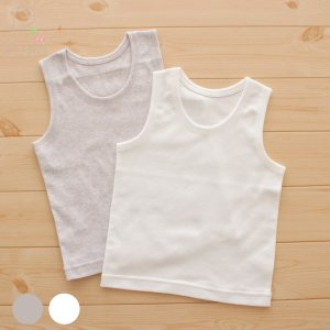 【メール便OK(03)】PUPO タンクトップインナーシャツ 外縫い仕様 フライス素材 綿100% 無地 ホワイト/グレー 80/90/95cm 日本製