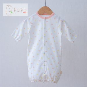 PUPO 2wayドレス 新生児 コーマスムース使用 花柄 綿100% 50-60cm 女の子 日本製